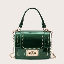 Studded Decor Chain Satchel Bag