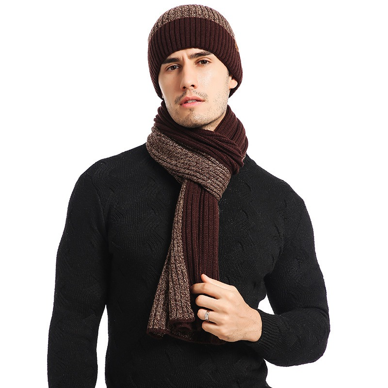 Ericdress Fashion Woolen Yarn Color Block Mens Scarves
