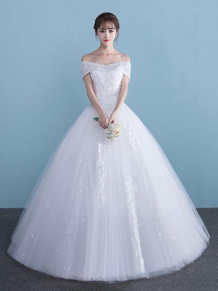 Milanoo White Wedding Dresses Princess Ball Gown Off Shoulder Lace Beaded Floor Length Bridal Dress