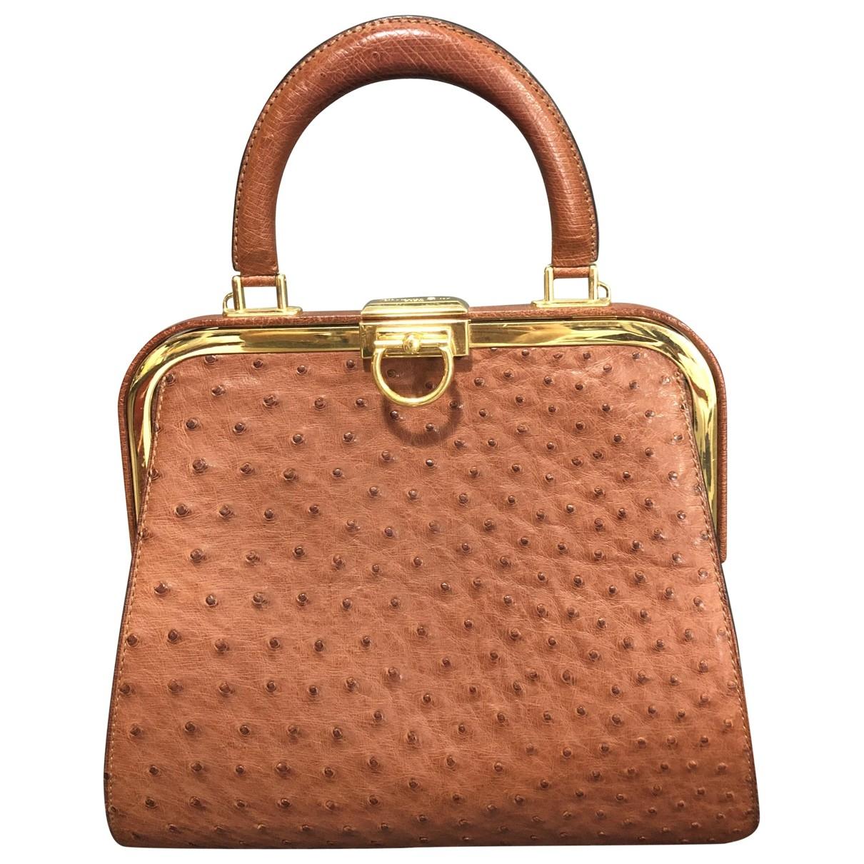 Dior \N Camel Ostrich handbag for Women \N
