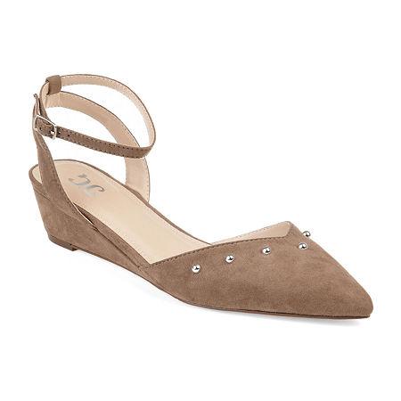Journee Collection Womens Aticus Pumps Buckle Round Toe Wedge Heel, 8 Medium, Beige