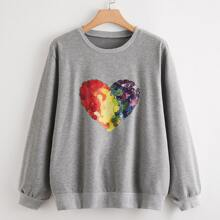 Sweatshirt mit Olmalerei und Herzen Muster