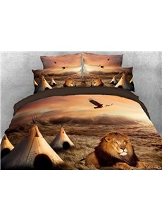 Lion Crouching Down on the Grass African Style 4-Piece 3D Bedding Sets/Duvet Covers