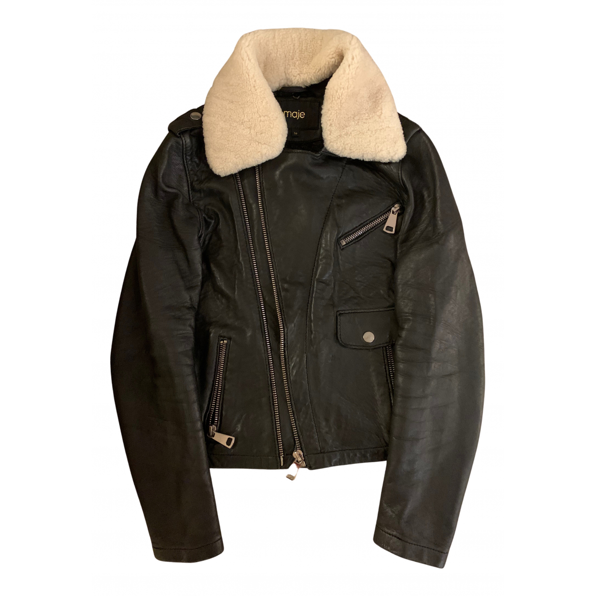 Maje N Black Leather jacket for Women 36 FR