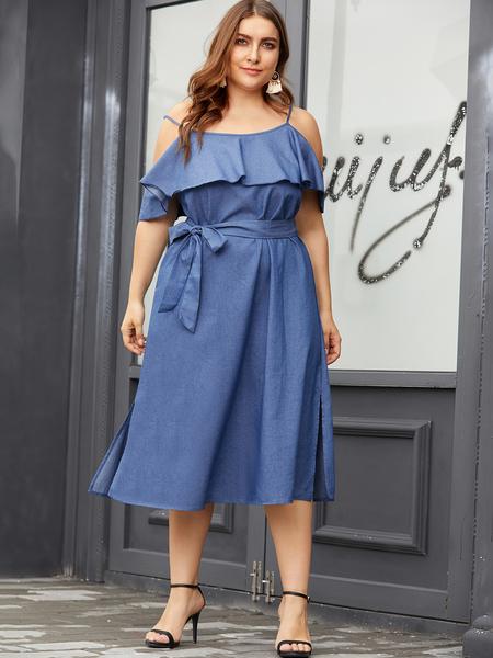 Yoins Plus Size Blue Denim Cold Shoulder Ruffle Trim Dress