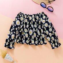 Schulterfreie Bluse mit Blumen Muster