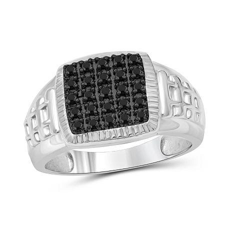 Mens 1/4 CT. T.W. Genuine Black Diamond Sterling Silver Ring, 9 , No Color Family