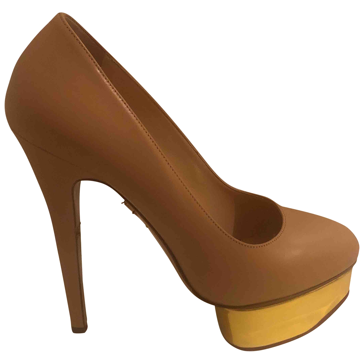Charlotte Olympia Dolly Leather Heels for Women 38.5 EU