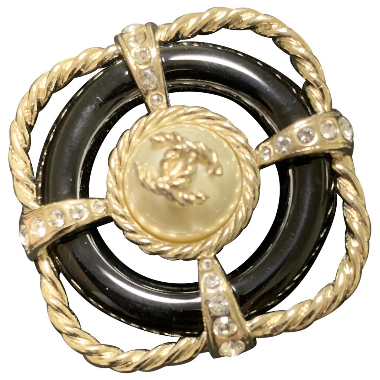 Chanel - Broche CC pour femme en cristal - noir