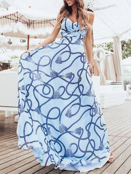 Milanoo Vestido largo Azul celeste claro Moda Mujer sin mangas de chifon Vestidos con nudos con estampado muy escotado por detras con tirantes estilo