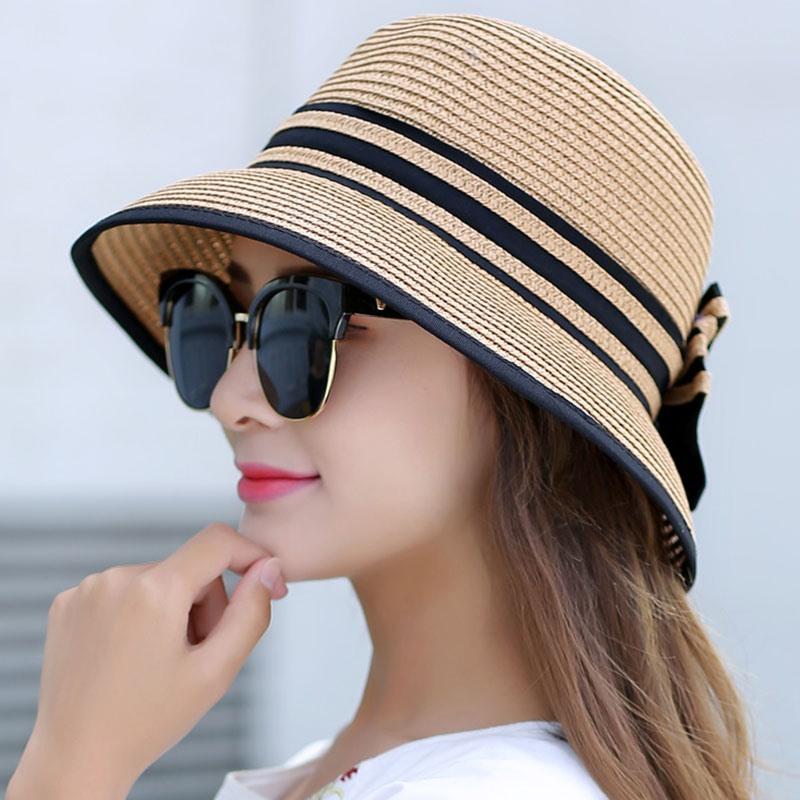 Ericdress Stripe Design Bowknot Foldable Summer Sun Hat