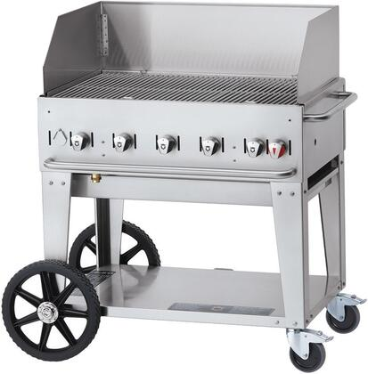 CV-MCB-36WGP-NG 36 Natural Gas Mobile Grill with Wind Guard  79500 BTU Capacity  5 Stainless Steel Burners  Two Locking Casters and Storage Shelf in