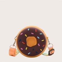 Girls Round Donuts Design Crossbody Bag