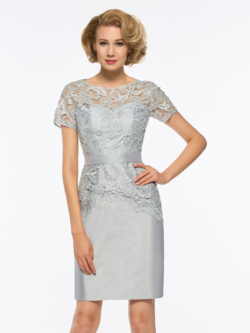 Ericdress Short Sleeves Sheath Knee Length Mother of The Bride Dress
