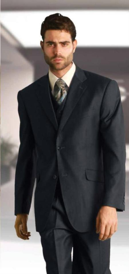 Mens Classic 2 Button Vested Charcoal 3 Piece Italian Fabric Suit