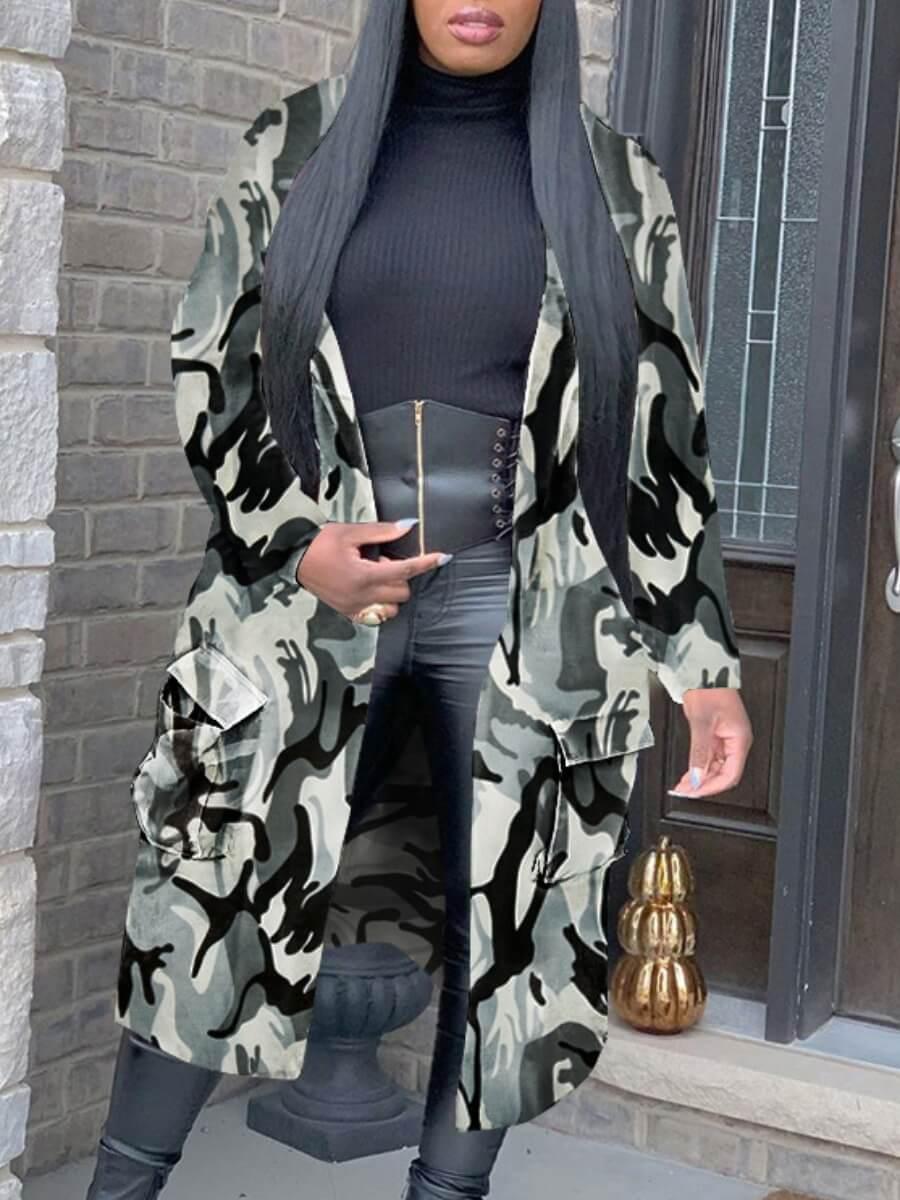 LW Lovely Trendy Turndown Collar Camo Print Grey Long Denim Jacket