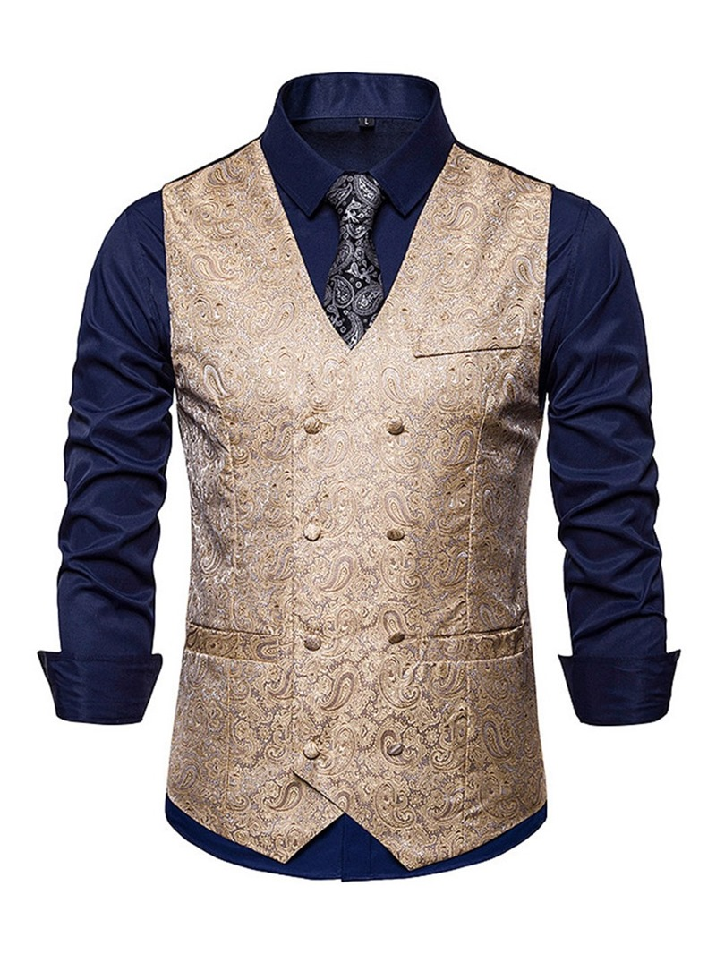 Ericdress V-Neck Print Color Block Mens Double-Breasted Waistcoat