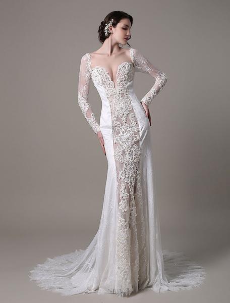 Milanoo Vestido de novia de encaje con escote transparente y perlas