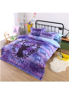 Dreamy Purple Wonderland with Reindeer Pattern Polyester 4-Piece Bedding Sets/Duvet Cover