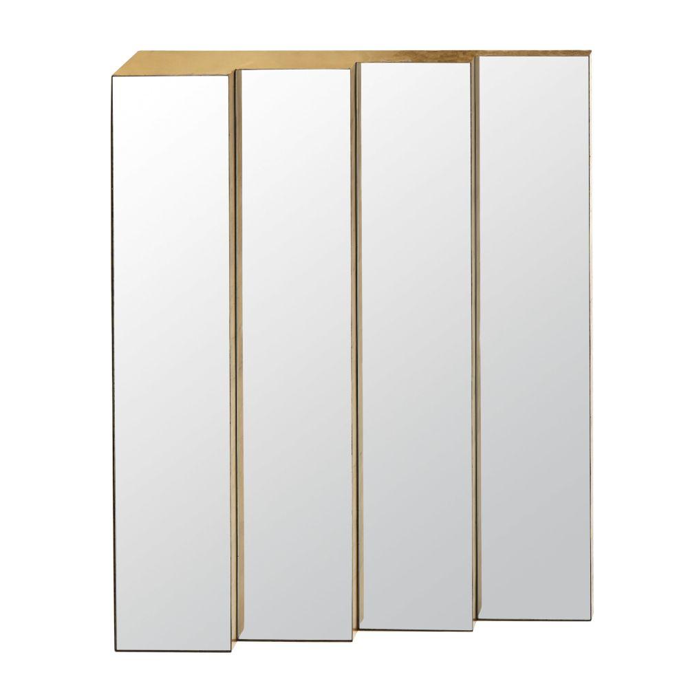 Ubereinander angeordnete Spiegel aus Metall, goldfarben 81x121