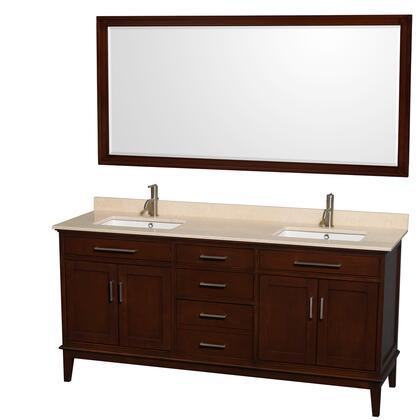 WCV161672DCDIVUNSM70 72 in. Double Bathroom Vanity in Dark Chestnut  Ivory Marble Countertop  Undermount Square Sinks  and 70 in.