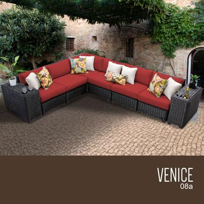 VENICE-08a-TERRACOTTA Venice 8 Piece Outdoor Wicker Patio Furniture Set 08a with 2 Covers: Wheat and