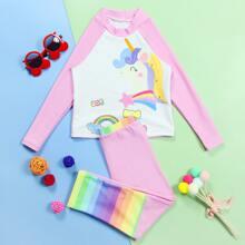 Toddler Girls Unicorn & Rainbow Print Bikini Swimsuit