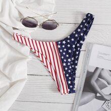 Bikini Hoschen mit amerikanischer Flagge Muster und hohem Ausschnitt