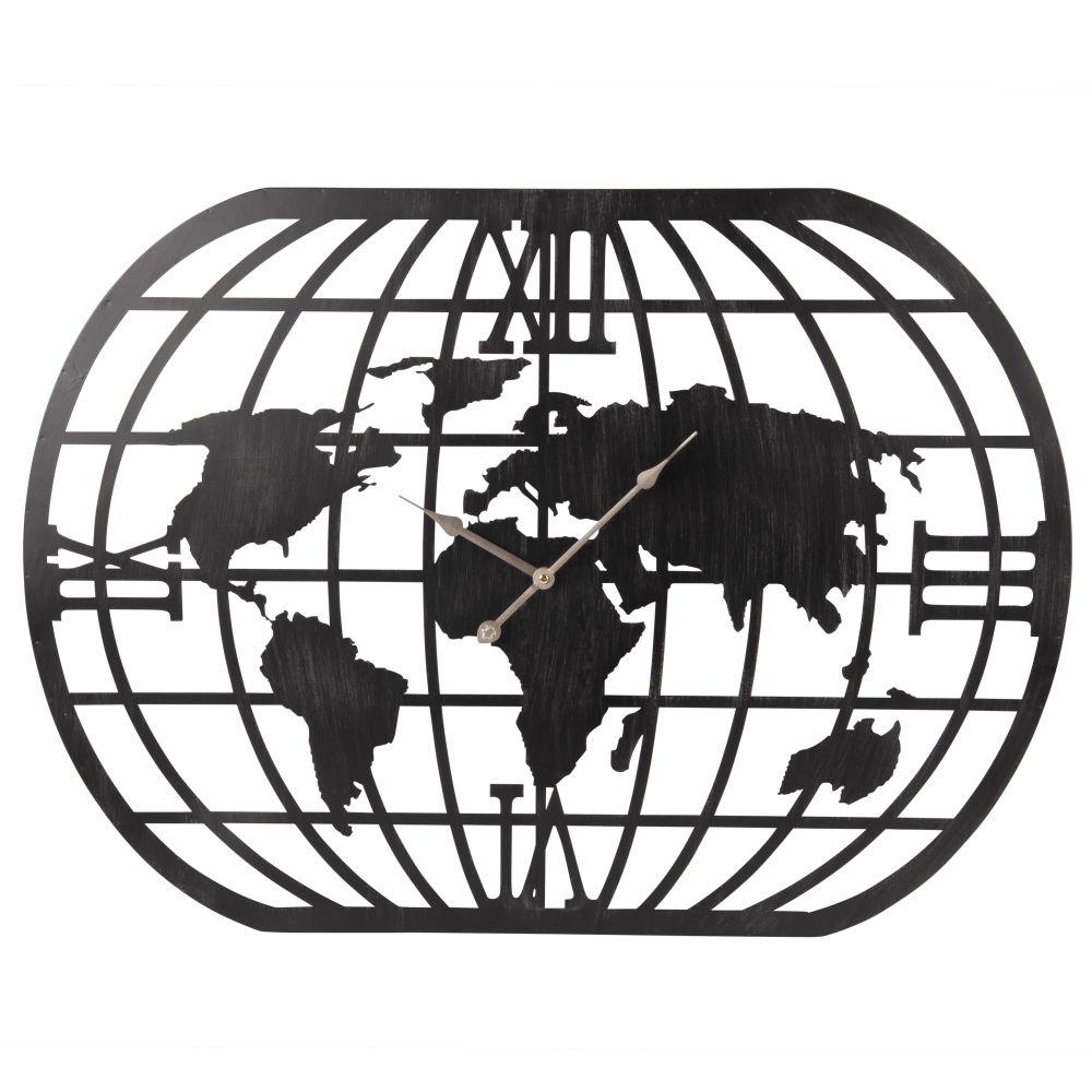 Wanduhr Weltkarte aus Metall, mattschwarz 80x58