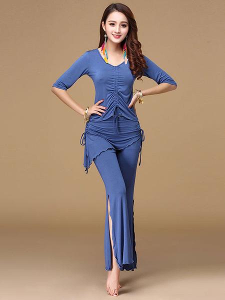 Milanoo Belly Dance Costumes Deep Blue Ruched Slit Drawstring Women Performance Costume Halloween
