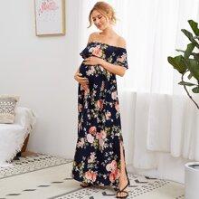 Maternity Flounce Off Shoulder Split Hem Floral Dress