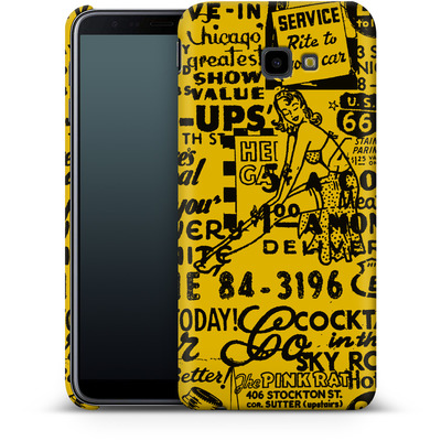Samsung Galaxy J4 Plus Smartphone Huelle - ROUTE 66 Pin-Up Pattern Yellow von ROUTE 66
