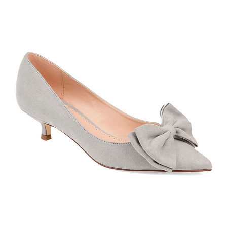 Journee Collection Womens Orana Pumps Slip-on Pointed Toe Kitten Heel, 5 1/2 Medium, Gray