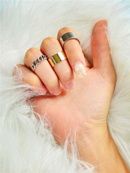 Milanoo Silver Rings Zinc Alloy 3 Piece Sets Women Jewelry
