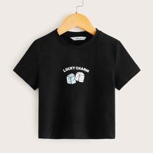 Camiseta de niñas con slogan y dibujo
