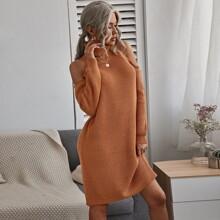 Schulterfreies Strick Pulloverkleid