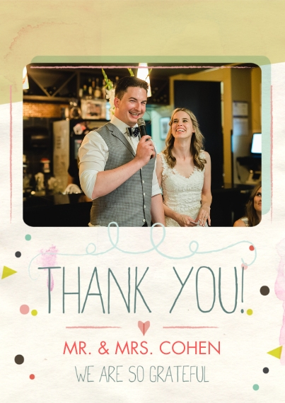Wedding Thank You Flat Glossy Photo Paper Cards with Envelopes, 5x7, Card & Stationery -Confetti Thank You