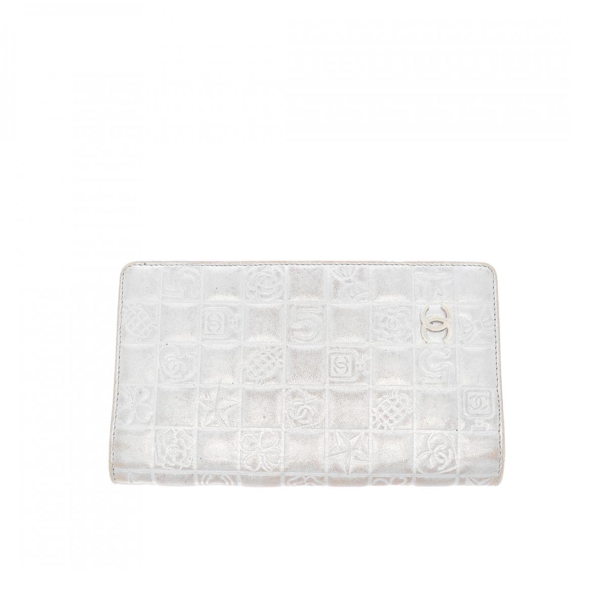 Chanel - Portefeuille   pour femme en cuir - argente