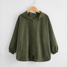 Mantel mit Taschen vorn, Reissverschluss und Kapuze