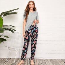 Short Sleeve Tee With Floral Pants Pajama Set