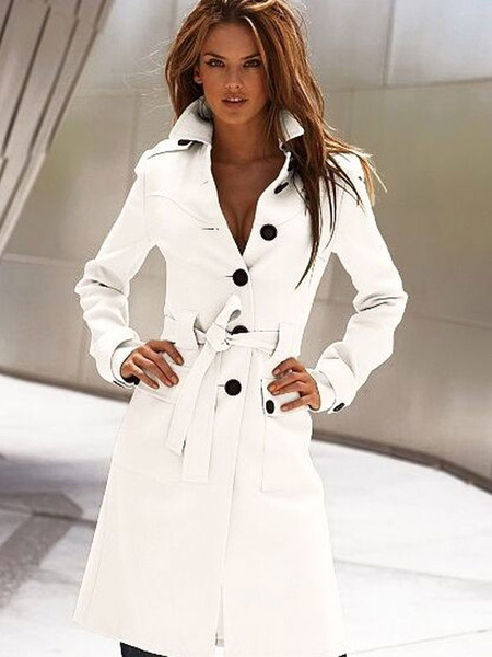 Milanoo Women Trench Coat White Long Sleeve Winter Overcoat
