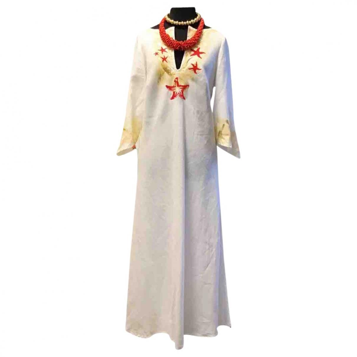 Non Signé / Unsigned Hippie Chic White Linen dress for Women 44 IT