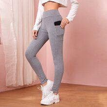 Solid High Waist Leggings With Phone Pocket