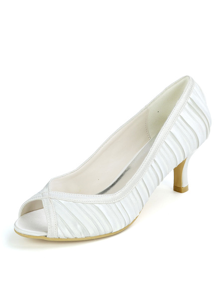 Milanoo Women\'s Wedding Shoes Satin White Peep Toe Kitten Heel 2.4
