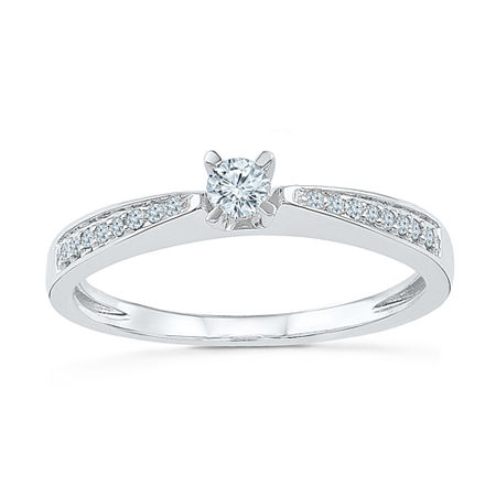 Promise My Love Womens 1/5 CT. T.W. Genuine White Diamond 10K Gold Promise Ring, 6 , No Color Family