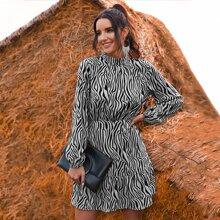 Mock Neck Zebra Striped A-line Dress