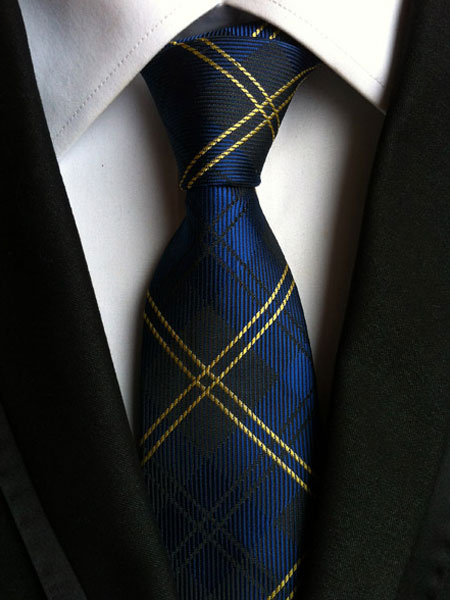 Milanoo Deep Blue Tie Checkered Dress Ties For Men