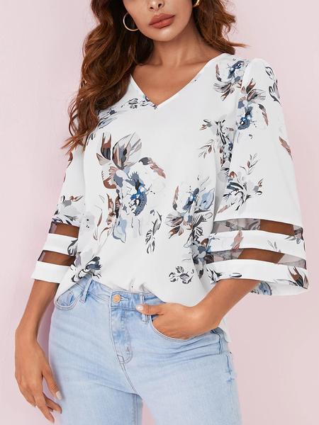 YOINS Random Floral Print V-neck Bell Sleeves Blouse