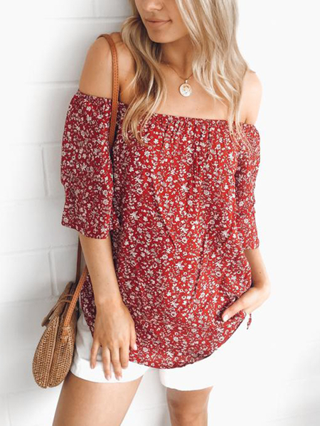 Yoins Calico Print Off The Shoulder Half Sleeves Blouse in Red