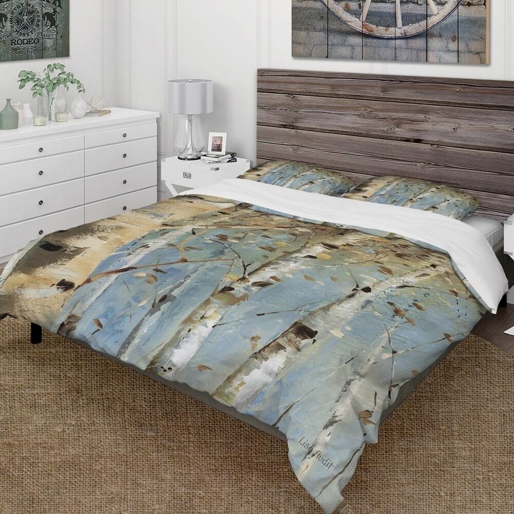 Designart 'White Birch Forest I' Farmhouse Bedding Set - Duvet Cover & Shams (King Cover + 2 king Shams (comforter not included))